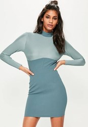 Missguided Blue Pleated Corset Detail Bodycon Dress