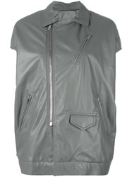 Rick Owens Short Sleeve Biker Jacket Grey