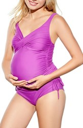 Maternal America Women's Ruched Maternity Tankini Swimsuit Orchid