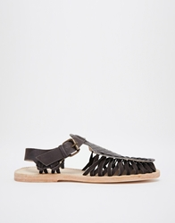 H By Hudson Jetty T Bar Leather Flat Shoes Black