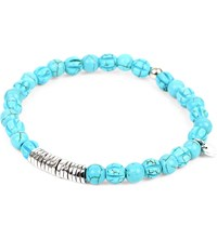 Tateossian Silver Disc Beaded Bracelet Turquoise