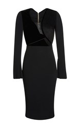 Roland Mouret Ormond Check Velvet Jacquard Dress Black