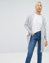 Selected Knitted Cardigan Light Grey