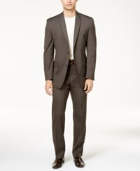 Marc New York By Andrew Men's Classic Fit Brown Pinstripe Suit