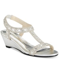 Caparros Lala Embellished Evening Wedge Sandals Women's Shoes Silver