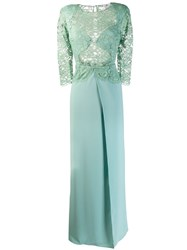 Elisabetta Franchi Lace Panel Flare Gown Green