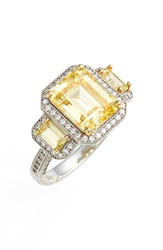 Lafonn 'Lassaire' Yellow Three Stone Ring Silver Canary Yellow