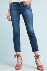 Anthropologie Ag Stilt Mid Rise Cigarette Cropped Jeans Denim Medium Blue