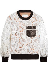Self Portrait Faux Leather Trimmed Lace And Jersey Sweatshirt White
