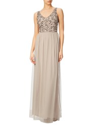 Adrianna Papell Beaded Bodice Long Gown Biscotti