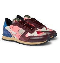 Valentino Garavani Rockrunner Camouflage Print Canvas Leather And Suede Sneakers Pink