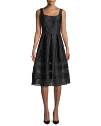 Carmen Marc Valvo Brocade Fit And Flare Dress W Mesh Insets Black