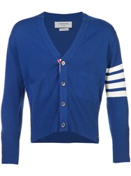 Thom Browne Short V Neck Cardigan With 4 Bar Stripe In Blue Cashmere Cashmere