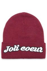 Maje Embroidered Knitted Beanie Merlot