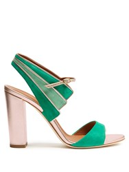 Malone Souliers Careen Suede Block Heel Sandals Green Gold