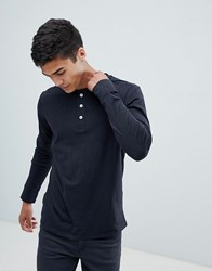 Selected Homme Long Sleeve T Shirt With Henley Neck Black Beauty