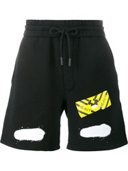 Off White Diagonal Spray Print Shorts Black