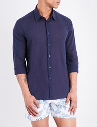 Vilebrequin Caracal Cotton Voile Shirt Navy