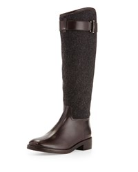 Tory Burch Grace Flannel And Leather Riding Boot Gray Women's