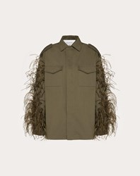 Valentino Gabardine Pea Coat With Feather Embroidery Olive 100 Cotone
