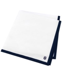 Tommy Hilfiger Men's Logo Solid Edge Pocket Square Navy