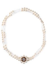 Stella Mccartney Woman Faux Pearl Crystal And Rose Gold Tone Necklace Necklace Platinum