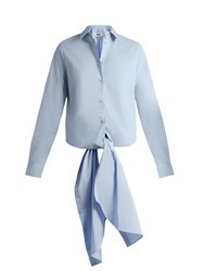 Maison Martin Margiela Point Collar Tie Waist Cotton Shirt Light Blue