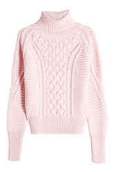 Mary Katrantzou Wool Cableknit Turtleneck Pullover Pink