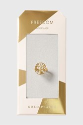Topshop Gold Plated Tree Cut Out Ring Gold