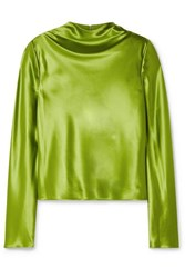 Brandon Maxwell Silk Charmeuse Top Leaf Green