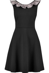 Maje Glitter Trimmed Stretch Cady Dress Black