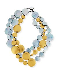 Viktoria Hayman Triple Strand Two Tone Disc Necklace Yellow Silver