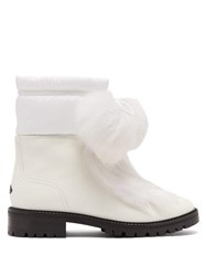 Jimmy Choo Glacie Pompom Shearling Trimmed Leather Boots White