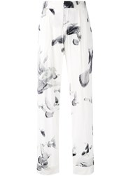 A.F.Vandevorst Printed Wide Leg Trousers Women Silk Lyocell 38 White