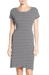 Petite Women's Caslon 'Growover' Jersey T Shirt Dress Black White Stripe