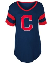 5Th And Ocean Women's Cleveland Indians Sleeve Stripe Relax T Shirt Navy Red