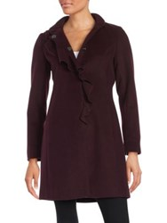 Larry Levine Plus Ruffled Wool Blend Coat Black
