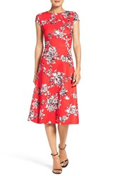Eci Women's Floral Scuba Fit And Flare Dress Red