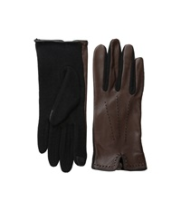Lauren Ralph Lauren Color Stitch Hybrid Touch Glove Coffee Black Wool Gloves Brown