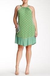 Taylor Halter Neck Print Jersey Dress Plus Size Green