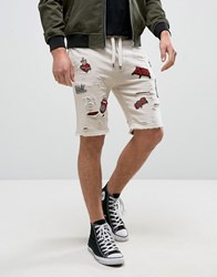 Black Kaviar Distressed Shorts In Beige With Patches Beige