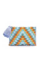 One By Parcel And Journey Beaded Pouchette With Tassel Yellow Orange Blue Zig Zag