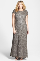 Adrianna Papell Embellished Scoop Back Gown Plus Size Lead
