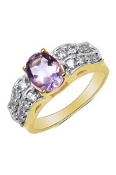 Oval Amethyst And Wavy Pave Cz Ring