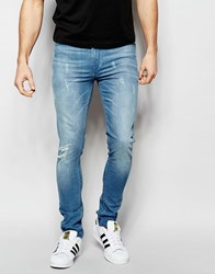 Asos Super Skinny Jeans With Abrasions Blue