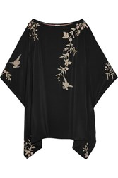 Talitha Embroidered Silk Kimono Mini Dress Black
