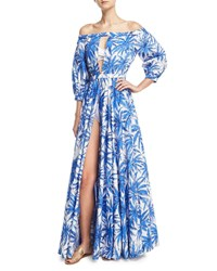 Milly Jenny Off The Shoulder Slit Front Floral Print Maxi Coverup Dress Blue