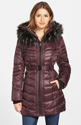 Kensie Belted Down And Feather Fill Coat With Detachable Faux Fur Trim Hood Berry