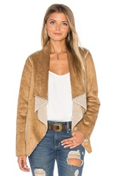 Velvet By Graham And Spencer Zariah Drape Front Faux Fur Jacket Beige