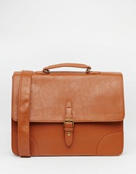 Asos Smart Satchel In Faux Leather Tan